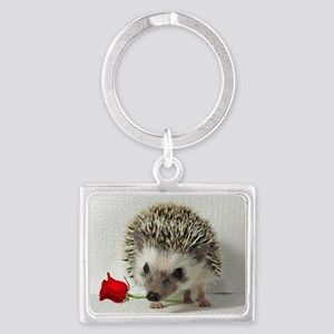 hedgehog with rose Landscape Keychain
